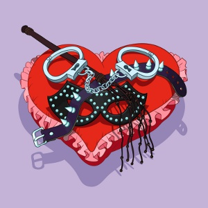 BDSM heart with mask, handcuffs, lash and collar